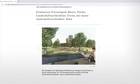 G+L Garten + Landschaft zeigt unseren Siegerentwurf von Moers auf seiner Website