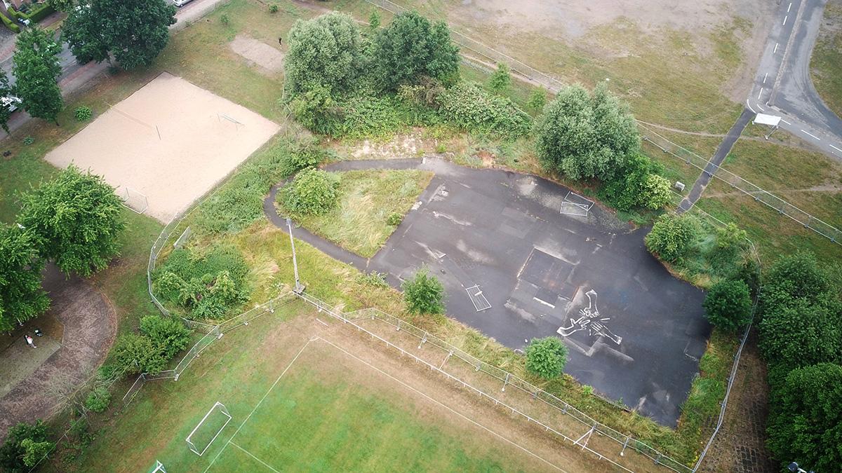 Lüneburg Skatepark und Pumptrack, Luftaufnahme vom 210701